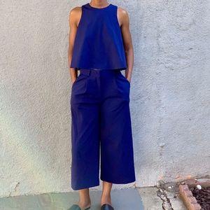 ASOS Blue A-Line Sleeveless Crop Top
